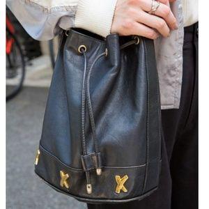 Paloma Picasso Drawstring Leather Bucket Bag